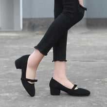 Load image into Gallery viewer, Lady Square Head Thick-heeled Shallow-mouth Size 33-42 Woman's Pumps Middle Heels Shoes