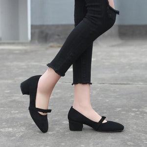 Lady Square Head Thick-heeled Shallow-mouth Size 33-42 Woman's Pumps Middle Heels Shoes
