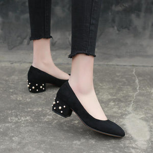 Lady Style Pearl Shallow Toe Woman's Pumps Middle Heels Shoes