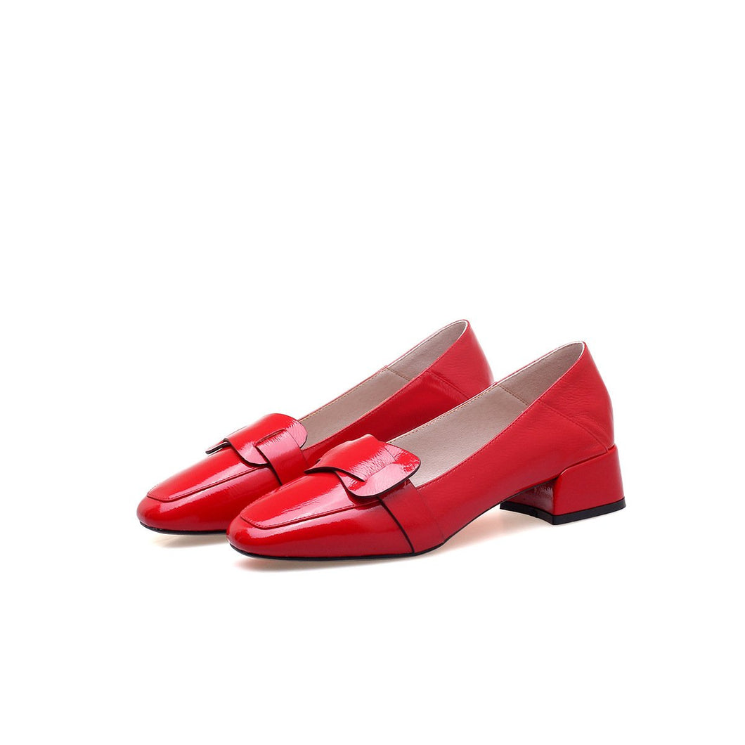Woman's Leather Square Head Thick Heel Shallow Loafers