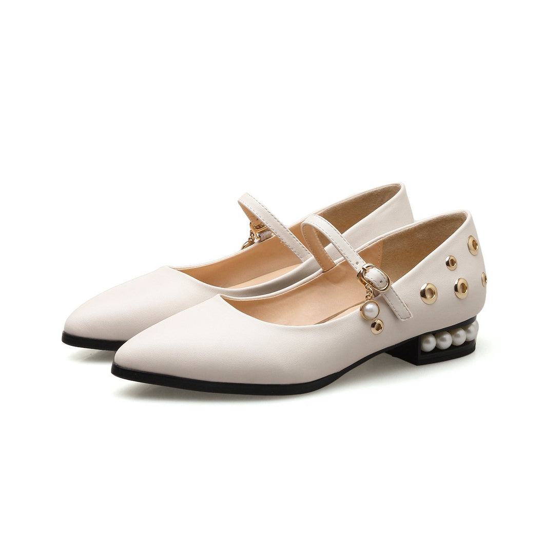 Girls's Pearl Point Low Heeled Pumps