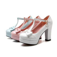 Load image into Gallery viewer, Woman's Chunkey Heel Platform Pumps Sweet Bow Buckle Ultra High Heeled Shoes