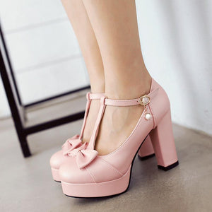 Woman's Chunkey Heel Platform Pumps Sweet Bow Buckle Ultra High Heeled Shoes