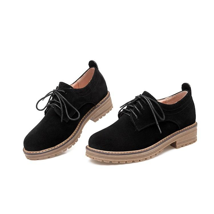Girls's Lace Up Casual Low Heeled Chunky Pumps Shoes