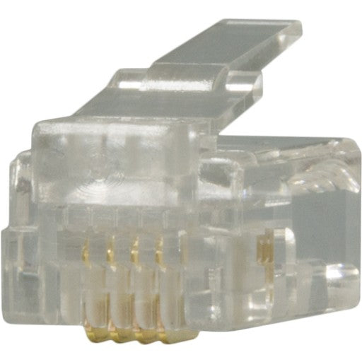 RJ11 Plug, 6 Position, 4 Conductor, For Round Solid Wire