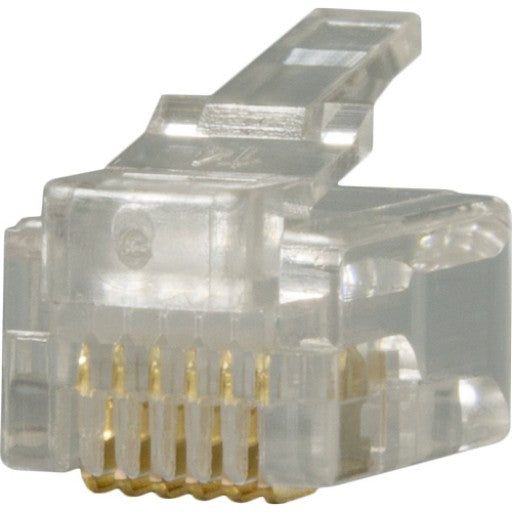 RJ12 Plug, 6 Position, 6 Conductor, For Round Solid Wire