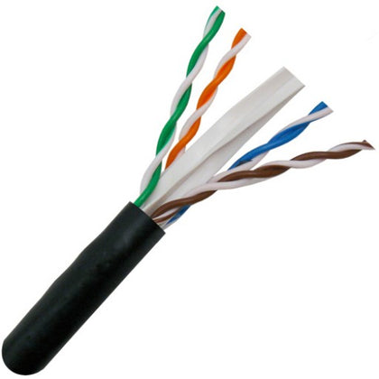CAT6 600MHz UV Rated Bulk Cable 1000ft. - Black