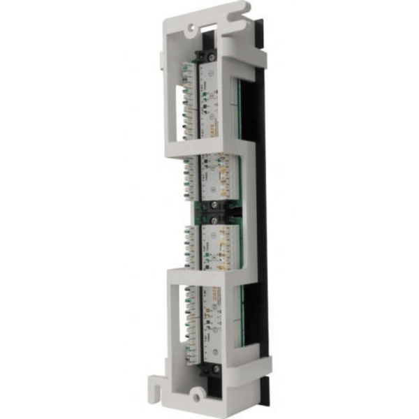 Backwards compatible with CAT5e High Impact Patch Panel Tough Black Painted Finish Number Labeled for Easy Identification Writable & Erasable Marking Surfaces 568A & 568B Wiring Color Codes 110 IDC Terminals 1U;  W: 9⅞   H: 2¼   D: 1¼ inches Cable Ties, Screws, Bracket Included UL Listed, RoHS Compliant