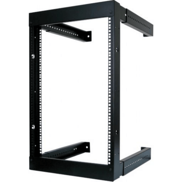 "16U Open Wall Mount Equipment Rack - Adjustable Depth from 18""-30"" - Hardware included (M6 Cage nuts and screws)"