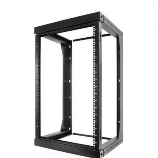 "16U Open Wall Mount Frame Rack with Hinge. Swings Out. Includes M6 screws and cage nuts. Adjustable depth from 18"" to 30"""