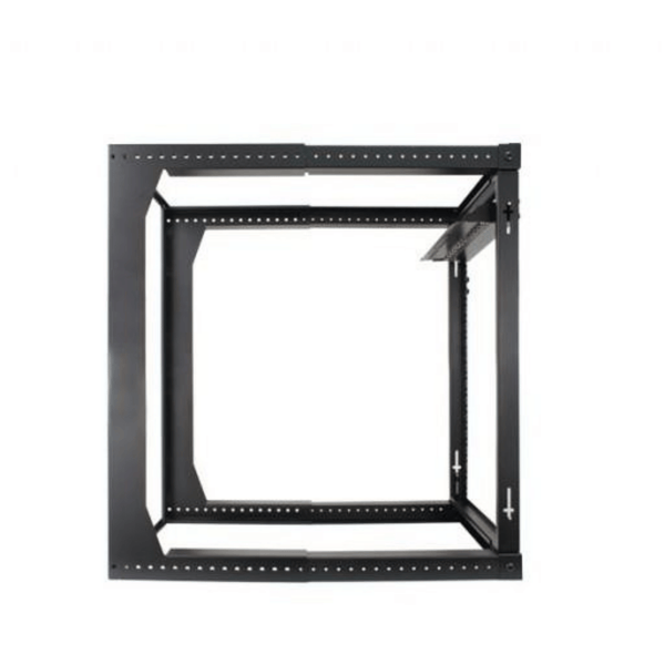 16U Open Wall Mount Frame Rack with Hinge. Swings Out. Includes M6 screws and cage nuts. Adjustable depth from 18