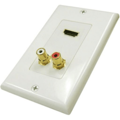 1 HDMI and 2 RCA Wall Plate - White
