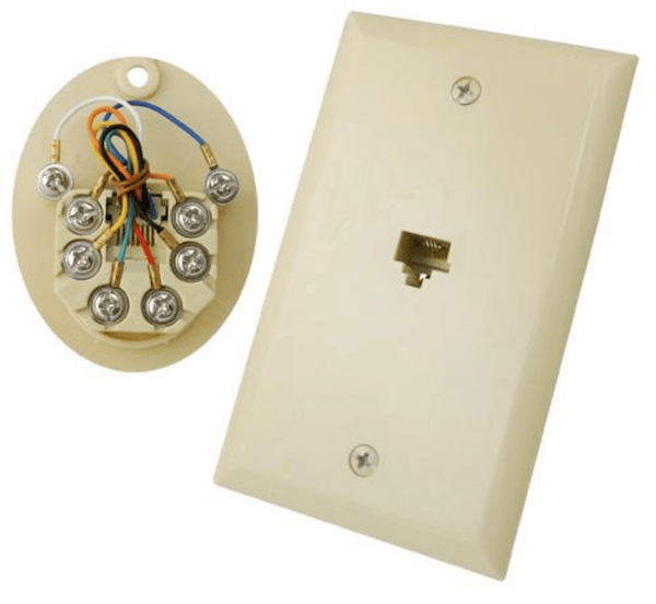 RJ45 Flush Mount Wall Plate 8 Conductors High-impact ABS construction Comes with matching-color screws Smooth finish Available in White or Ivory Works with Vertical Cable's CAT5E Patch Cords UL Listed white