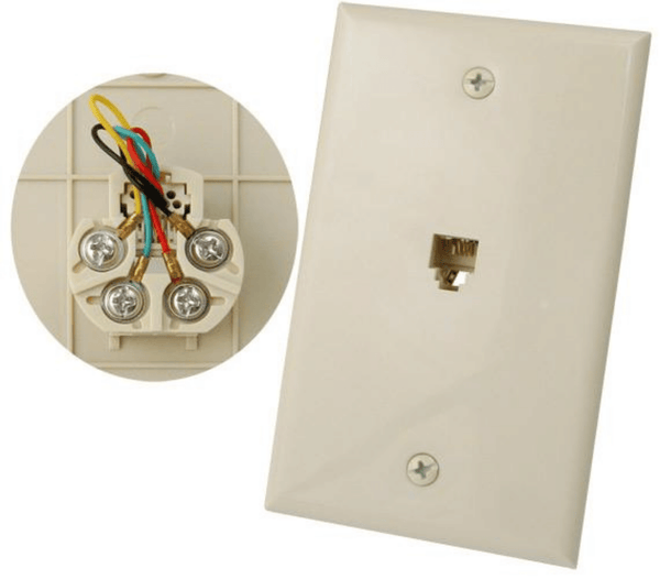 RJ11 Flush Mount Wall Plate 4 Conductors High-impact ABS construction Comes with matching-color screws Smooth finish UL Listed Available in White or Ivory