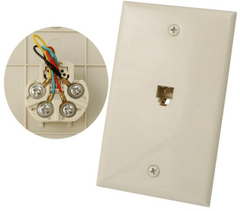 1 Port Telephone Wall Plate - Ivory