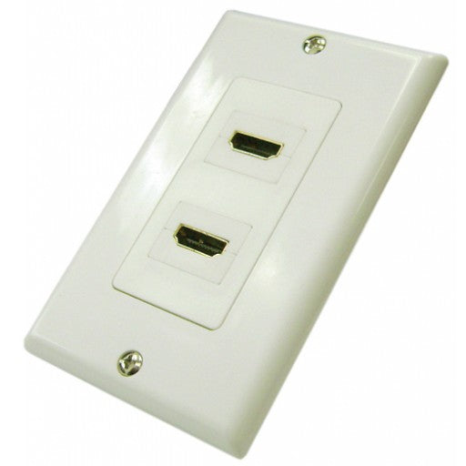 HDMI 2 Port Wall Plate - White