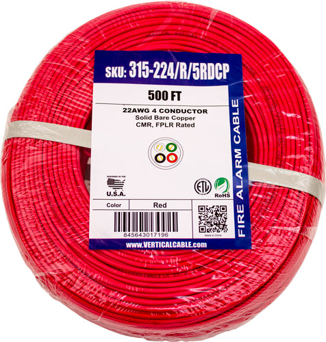 Fire Alarm Cable, 22/4, Solid, Unshielded, FPLR (Riser), 500ft Coil Pack, Red
