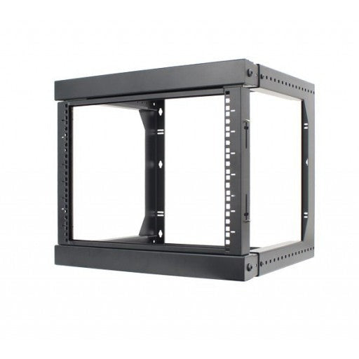 "9U Open Wall Mount Frame Rack with Hinge. Swings Out. Includes M6 screws and cage nuts. Adjustable depth from 18"" to 30"""