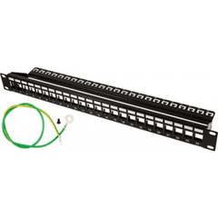 Blank Patch Panel - 24 Port - with Ground for Shielded Jacks