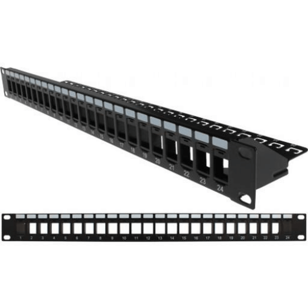 Constructed from heavy-duty 16-gauge steel. Supports cable, and prevents strain on the connection Accepts either 10/24 or 12/32 screws Sturdy Cable manager clips into the blank Patch Panel Durable black powder coat finish Universal mounting for either left or right hinging and easy panel access Takes 1U of space Bezels, Jacks or Inserts NOT Included