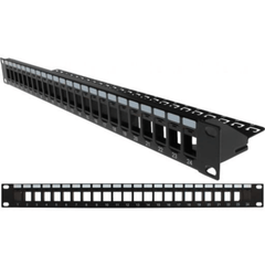 Blank Patch Panel with Support Bar- 24 Port - 1U - Black