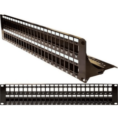 Blank Patch Panel with Support Bar - 48 Port - 2U - Black