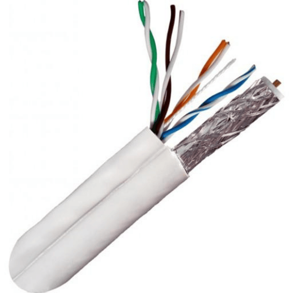 Composite Cable, PVC Jacket, 500ft. Wooden Spool - White x1 RG6U (CCS) Quad Shield x1 CAT5E, 350Mhz, 24AWG, UTP, Solid