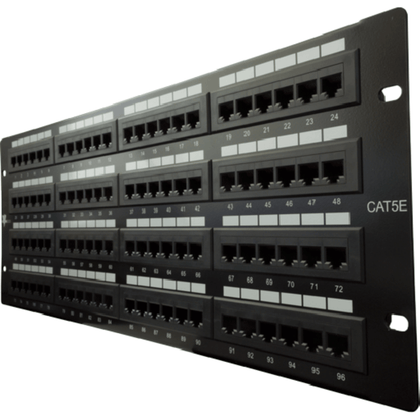 High Impact Patch Panel Made of sturdy, rolled-edge, anodized steel Color-coded for T568A and T568B wiring schemes 110 Style Punch-down Insertion life cycle: 750 cycles (minimum) / I.D.C. 250 cycles (minimum) 4U;  W: 19   H: 6   D: 1¼   inches Cable Ties, Screws Included UL Listed, RoHs Compliant