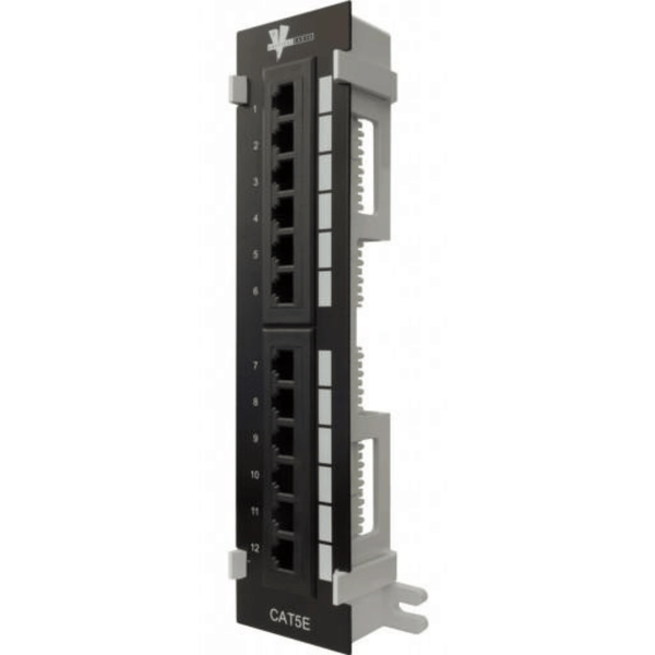High Impact Patch Panel Tough Black Painted Finish Number Labeled for Easy Identification Writable & Erasable Marking Surfaces 568A & 568B Wiring Color Codes 110 IDC Terminals 1U;  W: 9⅞   H: 2¼   D: 1¼ inches Cable Ties, Screws, Bracket Included UL Listed, RoHS Compliant