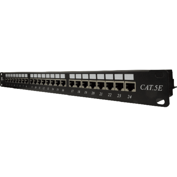 Shielded to protect against EMI, RFI High Impact Patch Panel Made of sturdy, rolled-edge, anodized steel Tough Black Painted Finish Color-coded for T568A and T568B wiring schemes Krone-Type IDC (22-26AWG) Insertion life cycle: 750 cycles (minimum) / I.D.C. 250 cycles (minimum) 1U;  W: 19   H: 1¾   D: 5   inches Cable Ties, Screws Included UL Listed, RoHs Compliant
