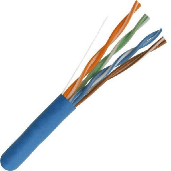 Category 5e UTP Designed for Indoor Installations Plenum Rated outer jacket (CMP) 350MHz High Performance Data Cable Easily Identified Color-Striped Pairs 24AWG Solid Copper Conductors Exceeds ANSI/TIA-568C.2 ETL Listed, RoHS Compliant, TAA Compliant 500ft Pull Box