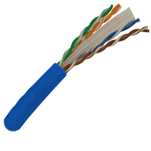 CAT6 Cable 550MHz, 23AWG, UTP, 4 Pair, Solid Bare Copper, 1000ft. blue