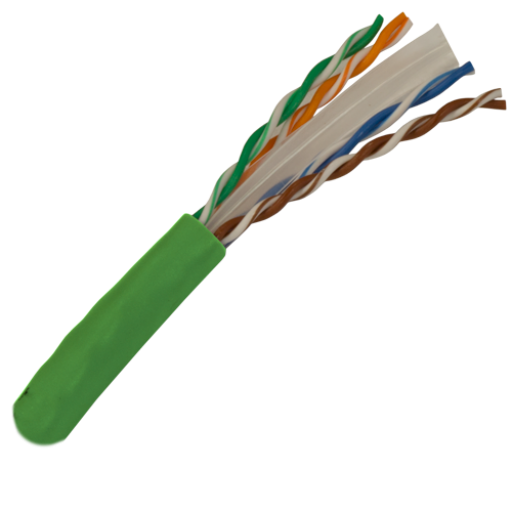 CAT6 Cable 550MHz, 23AWG, UTP, 4 Pair, Solid Bare Copper, 1000ft. green