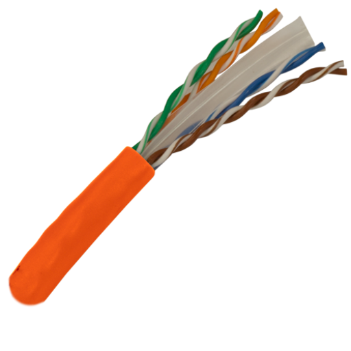 CAT6 Cable 550MHz, 23AWG, UTP, 4 Pair, Solid Bare Copper, 1000ft. orange