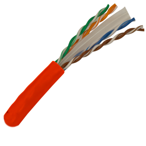 CAT6 Cable 550MHz, 23AWG, UTP, 4 Pair, Solid Bare Copper, 1000ft. red