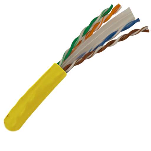 CAT6 Cable 550MHz, 23AWG, UTP, 4 Pair, Solid Bare Copper, 1000ft. yellow