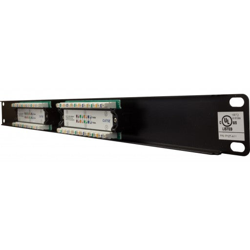 High Impact Patch Panel Made of sturdy, rolled-edge, anodized steel Color-coded for T568A and T568B wiring schemes 110 Style Punch-down Insertion life cycle: 750 cycles (minimum) / I.D.C. 250 cycles (minimum) 1U;  W: 19   H: 1¾   D: 1¼   inches Cable Ties, Screws Included UL Listed, RoHs Compliant