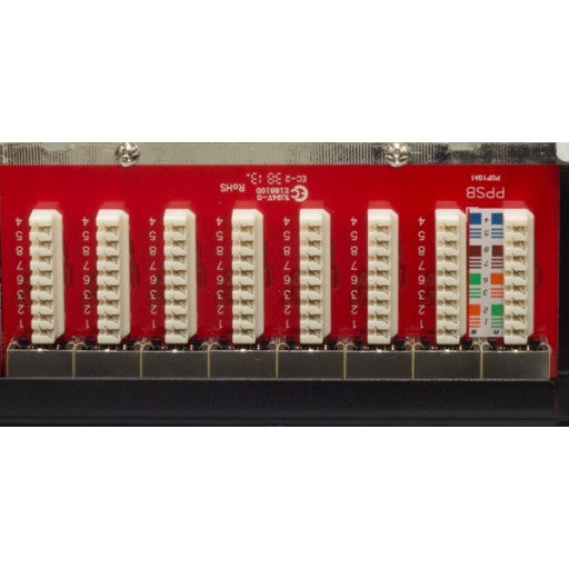 Backwards compatible with CAT5e Shielded to protect against EMI, RFI High Impact Patch Panel Tough Black Painted Finish Number Labeled for Easy Identification Writable & Erasable Marking Surfaces 568A & 568B Wiring Color Codes Krone Type IDC (22-26AWG) 1U;  W: 19   H: 1¾   D: 6 inches UL Listed, RoHS Compliant