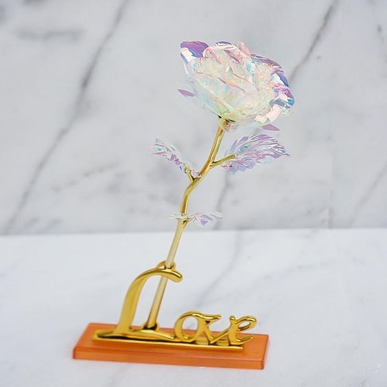 Galaxy Rose Flower + Love Base Stand