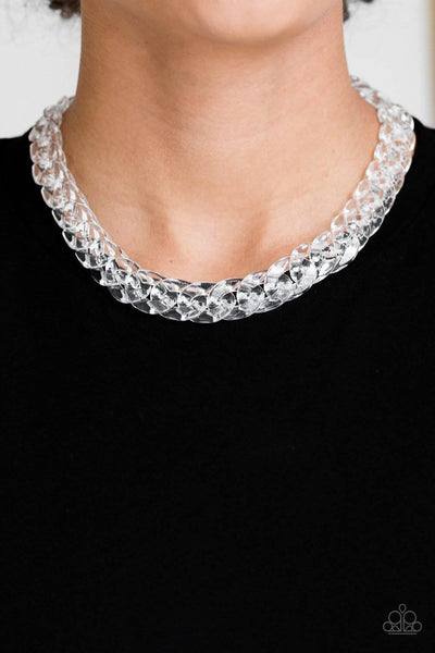 Put It On Ice - White Acrylic Necklace - Paparazzi Accessories - GlaMarous Titi Jewels