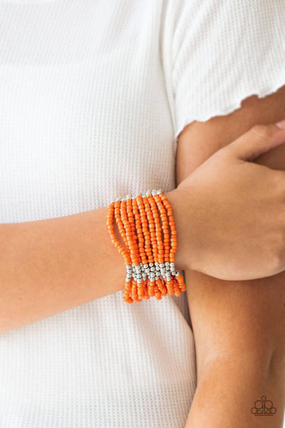 Outback Odyssey - Orange Seed Bead Bracelet - Paparazzi Accessories - GlaMarous Titi Jewels