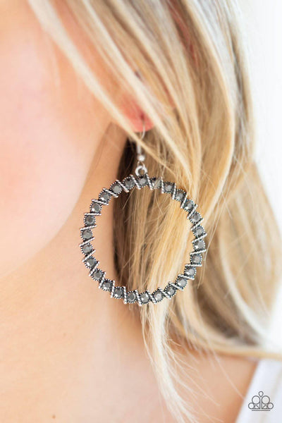 Enlighten Me - Silver Hematite Rhinestone Earrings - Paparazzi Accessories - GlaMarous Titi Jewels