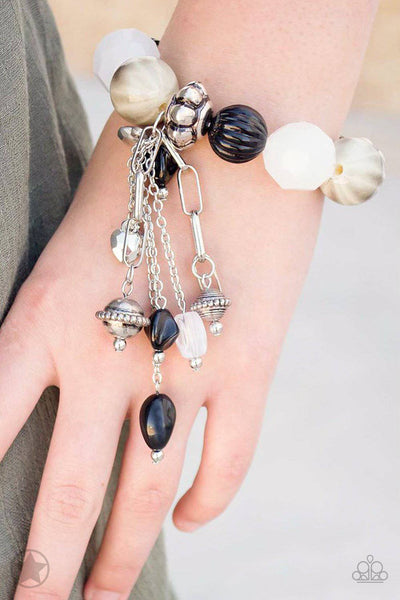 Lights! Camera! Action! - Blockbuster Black & White Bracelet - Paparazzi Accessories - GlaMarous Titi Jewels