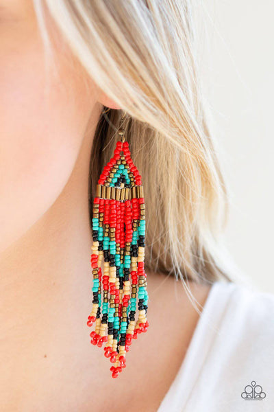 Colors Of The Wind - Red Seed Bead Earrings - Paparazzi Accessories - GlaMarous Titi Jewels