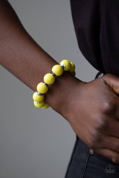 Candy Shop Sweetheart - Yellow Stretchy Bracelet - Paparazzi Accessories - GlaMarous Titi Jewels