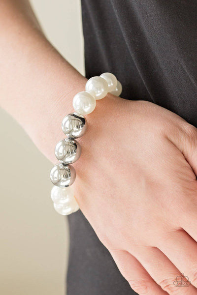 All Dressed UPTOWN - White Pearl Bracelet - Paparazzi Accessories - GlaMarous Titi Jewels