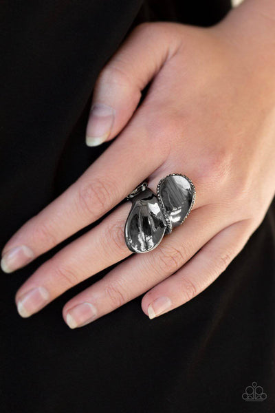 Fabulously Folded - Black Hematite Rhinestone Ring - Paparazzi Accessories - GlaMarous Titi Jewels