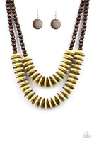 Dominican Disco - Yellow & Brown Wood Necklace - Paparazzi Accessories - GlaMarous Titi Jewels