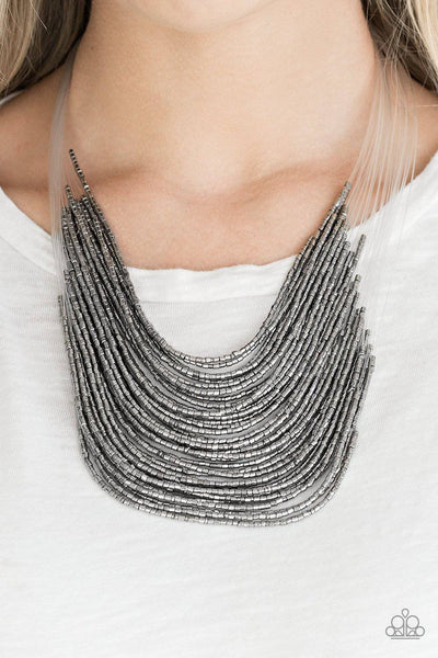 Catwalk Queen - Silver Seed Bead Necklace - Paparazzi Accessories - GlaMarous Titi Jewels