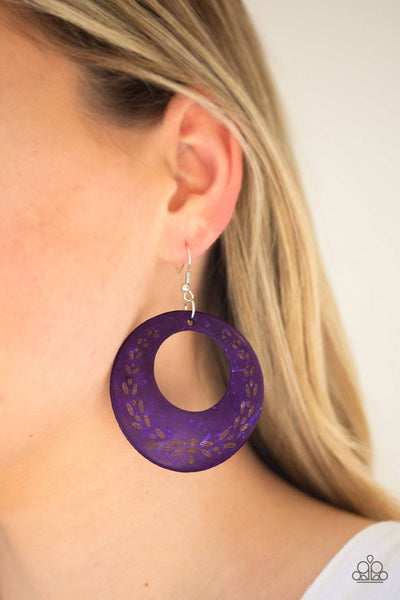 Beach Club Clubbin - Purple Wooden Earrings - Paparazzi Accessories - GlaMarous Titi Jewels